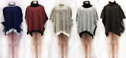 12 Bulk Turtle Neck Bi Color Poncho Sweater Cover Ups Assorted