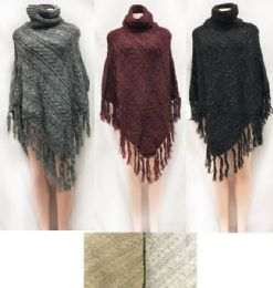 12 Bulk Cable Knitted Turtle Neck Ponchos Assorted Colored