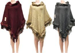 12 Bulk Solid Color Faux Fur Ponchos Assorted