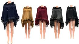12 Bulk Solid Color Faux Fur Ponchos With Pearl beaded Assorted