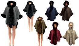 12 Bulk Solid Color Faux Fur Hooded Capes Assorted