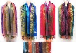 24 Bulk Large Multicolor Pashmina Paisley Pattern Scarves