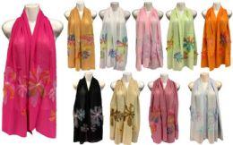 24 Bulk Silk Scarves with Large Flower