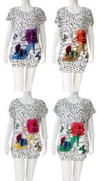 12 Bulk Heel with Flower Rhinestone Shirt Assorted Colors