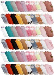 60 Bulk Yacht & Smith Assorted Pack Of Girls Low Cut Printed Ankle Socks Bulk Buy