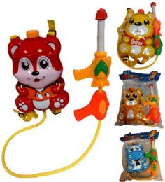 12 Bulk Children Animal Squirt Water Gun Toy Cartoon Animal Backpack