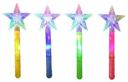 48 Bulk Light Up Star Shaped Magic Wand Assorted Colors