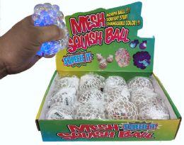 96 Bulk Light Up Clear Squish Ball Star Shaped Glitter Display