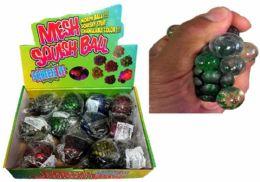 96 Bulk Glitter Squish Ball With Putty Inside Display