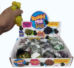 96 Bulk Glitter Squish Ball With Putty Inside Display Box