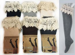 24 Bulk Long Over the Knee Stocking With Lace Trim Assorted