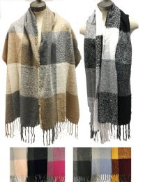 12 Bulk Large Plaid Thick Winter Scarves Assorted