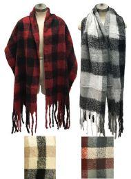 12 Bulk Plaid Long Winter Scarves Assorted