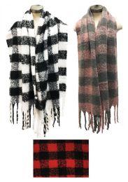 12 Bulk Plaid Winter Long Scarves Assorted
