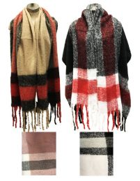 12 Bulk Plaid Long Winter Scarves Assorted
