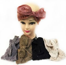 12 Bulk Knitted Headbands With bendable Bow Assorted