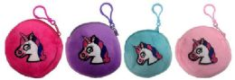96 Bulk Round Pastel Color Unicorn Coin Purse Assorted Colors