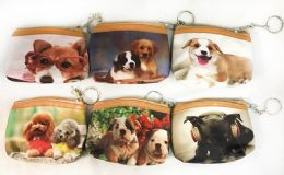 96 Bulk Coin Purse Puppy Dog Design With Key Ring