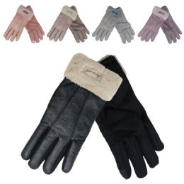 72 Bulk Women's Leather Like Winter Gloves With Plush Cuff
