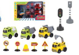 24 Bulk TRAFFIC VEHICLE SET WITH LIGHT AND SOUND