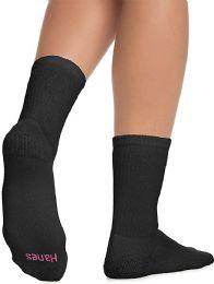 60 Bulk Hanes Crew Sock For Woman Shoe Size 4-10 Black