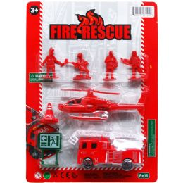 72 Bulk Fire Rescue Play Set On Blister Card