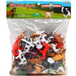 12 Bulk Plastic Farm Animals In Poly Bag