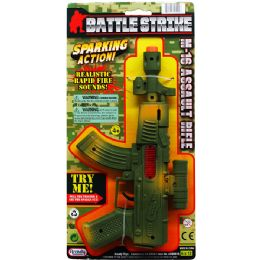 48 Bulk MILITARY TOY RIFLE WITH SPARKING ACTION TIED ON CARD