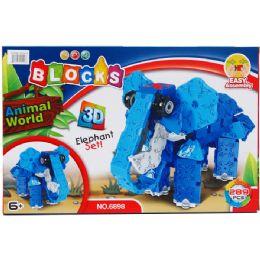 24 Bulk Elephant Block Play Set In Color Box