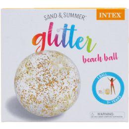 12 Bulk GLITTER BEACH BALL IN COLOR BOX
