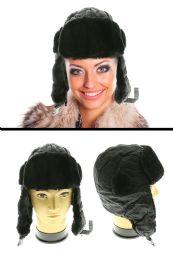 12 Bulk Black Acrylic Trapper Hat