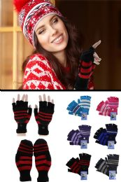 72 Bulk Colorful Knit Convertible Mittens