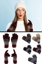 36 Bulk Knit Winter Gloves In Assorted Colors