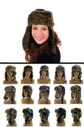 12 Bulk Sizes Vary Plaid Synthetic Fur Lining Trapper Hat