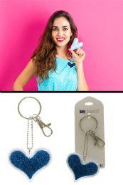 96 Bulk Blue Glitter Heart Key Chain