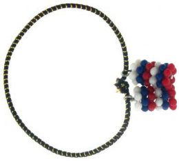 192 Bulk Pony Tail Elastic Band With Red White Blue Acrylic Beads