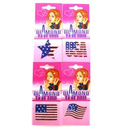 96 Bulk Assorted Patriotic Crystal Like Tattoos