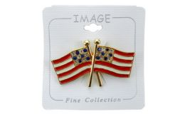 96 Bulk Double American Flag Pin With Rhinestones Representing The Stars