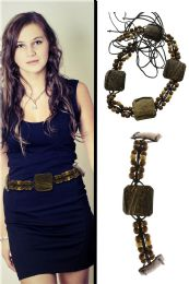 48 Bulk Brown Fashion String Belt With Wooden Bead Accents