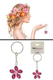 96 Bulk Pink Rhinestone Flower Shaped Key Chain