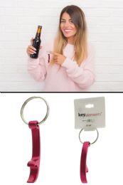 96 Bulk Red Aluminum Bottle Opener Keychain