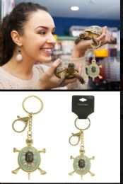 96 Bulk Turtle Trigger Snap Split-Ring Key Chain with Crystal Accents