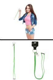 96 Bulk Neon Green Elastic Lanyard Key Chain