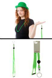 96 Bulk Neon Green Woven Lanyard Key Chain