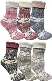 6 Bulk Yacht & Smith Womens Thick Soft Knit Wool Warm Winter Crew Socks, Patterned Lambswool, Sock Gift