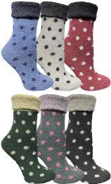 6 Bulk Yacht & Smith Womens Thick Soft Knit Wool Warm Winter Crew Socks, Patterned Lambswool, Sock Gift (6 Pairs Polka Dot)
