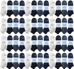 48 Bulk Yacht & Smith Men's 97% Cotton Shoe Liner Training Socks, No Show, Thin Low Cut Sport Ankle Bulk Socks, 10-13 Assorted