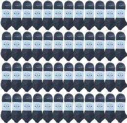 48 Bulk Yacht & Smith Men's 97% Cotton Shoe Liner Training Socks, No Show, Thin Low Cut Sport Ankle Bulk Socks, 10-13 Gray