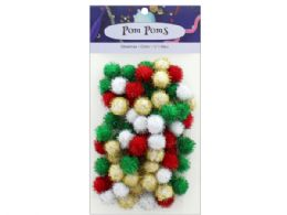 108 Bulk Holiday Glitter 1/2 in  Pom Poms 80pc