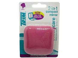 72 Bulk Trim Pink 2 In 1 Compact Mirror With Magnetic Closure